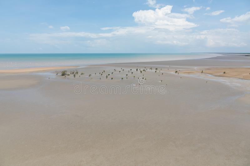 Aerial view of the sea and mudflat coastline at low tide with mangroves. Aerial view of the mudflat coastline at low tide with mangroves, Darwin, Northern royalty free stock photography