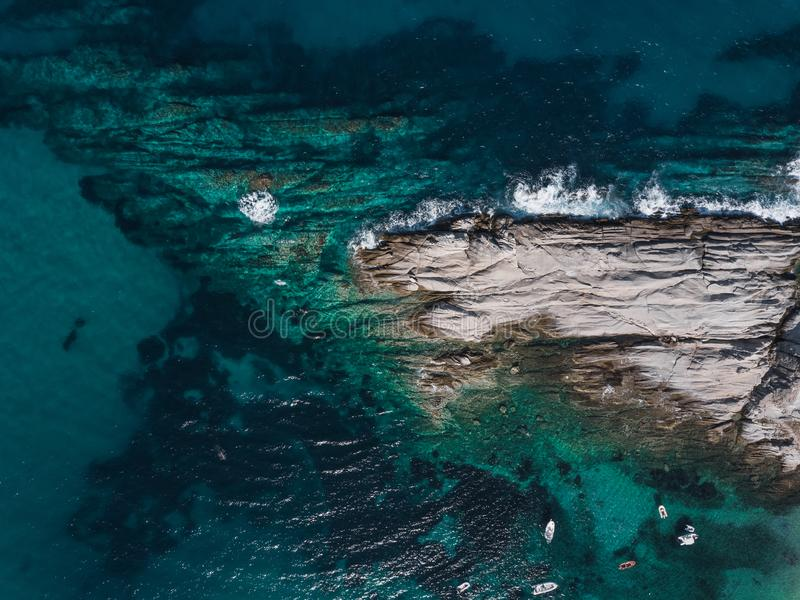 Aerial view of the sea near the coast royalty free stock photography