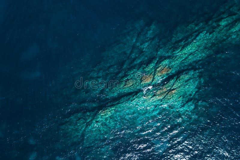 Aerial view of the sea near the coast stock photo