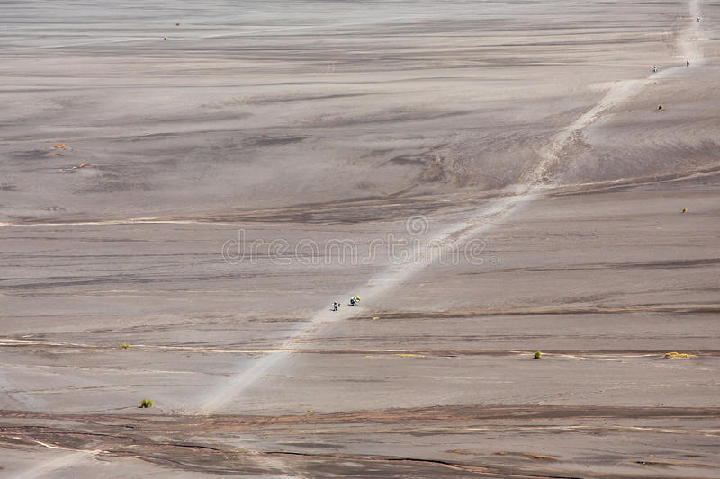 Aerial view of sea of sand inside Bromo Tengger Caldera. Mount Bromo sits in the middle of a vast plain called the Sea of Sand, a protected nature reserve royalty free stock photo
