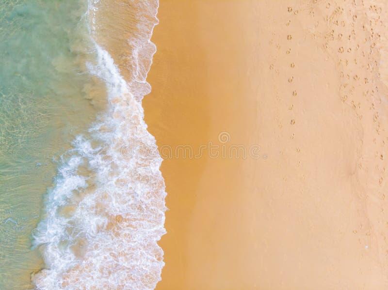 Aerial view sea wave white sand beach stock photos