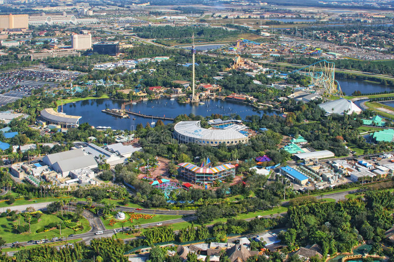 Aerial view of the SeaWorld, Orlando, Florida, USA royalty free stock photography