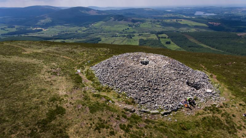 Seefin passage tomb. county Wicklow. Ireland. Aerial view. Seefin passage tomb, Blessington lake at far right. county Wicklow. Ireland royalty free stock photography