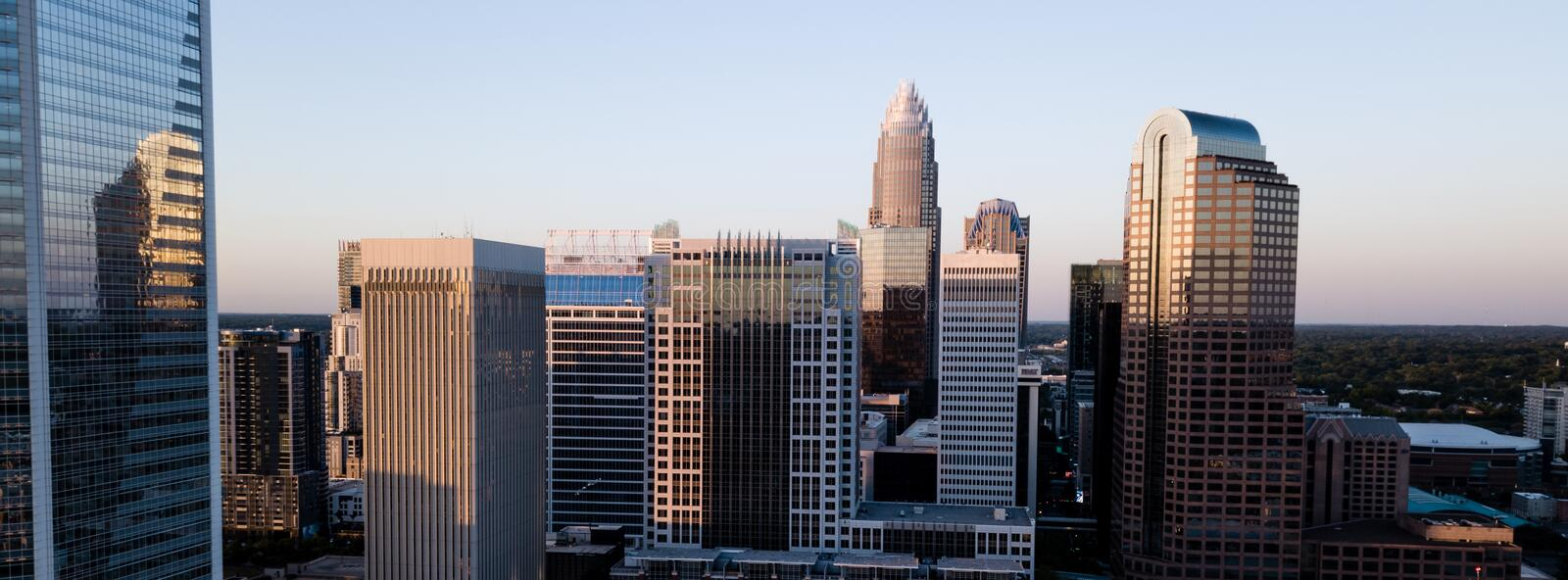 Aerial View of Select Buildings Downtown City Skyline of Charlotte royalty free stock images