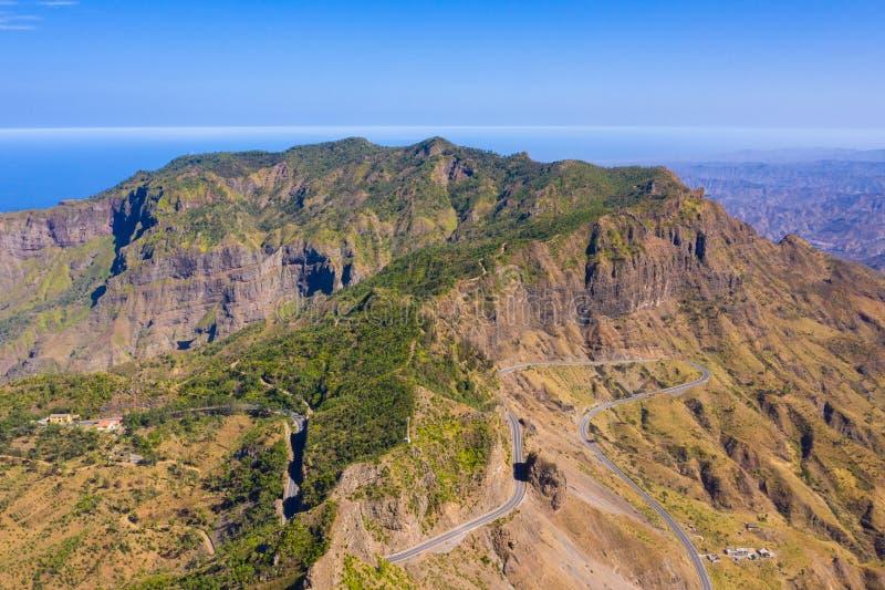 Aerial view of Serra Malagueta natural parc in Santiago island in Cape Verde - Cabo Verde. Aerial view of Serra Malagueta natural parc in Santiago island in Cape stock image