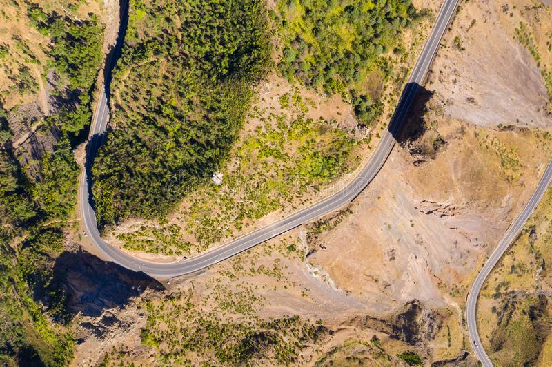 Aerial view of Serra Malagueta natural parc in Santiago island in Cape Verde - Cabo Verde. Aerial view of Serra Malagueta natural parc in Santiago island in Cape royalty free stock image