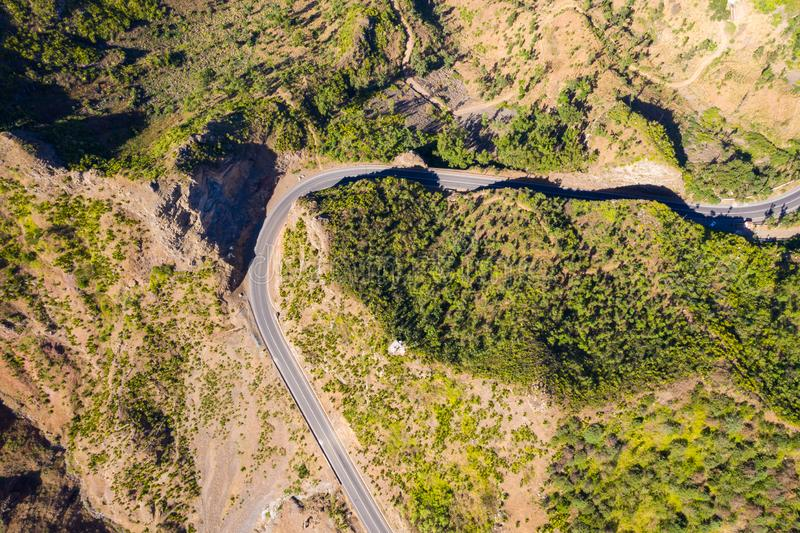 Aerial view of Serra Malagueta natural parc in Santiago island in Cape Verde - Cabo Verde. Aerial view of Serra Malagueta natural parc in Santiago island in Cape royalty free stock photos