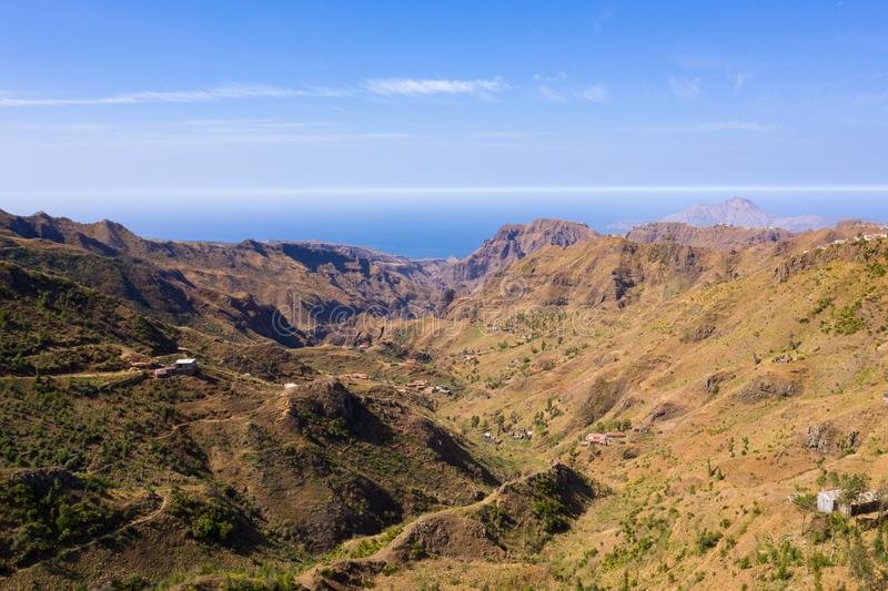 Aerial view of Serra Malagueta natural parc in Santiago island in Cape Verde - Cabo Verde. Aerial view of Serra Malagueta natural parc in Santiago island in Cape royalty free stock photography