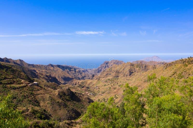 Aerial view of Serra Malagueta natural parc in Santiago island in Cape Verde - Cabo Verde. Aerial view of Serra Malagueta natural parc in Santiago island in Cape stock photo