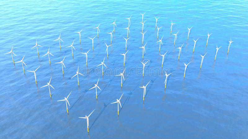 Aerial view of a set of turbines forming a Wind Farm in the middle of the ocean during the day with the blue sky. royalty free stock images