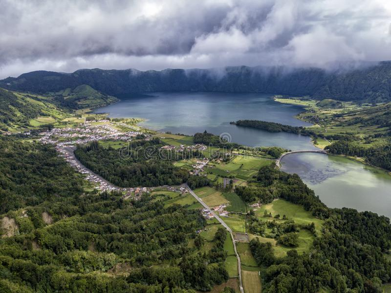 Aerial view of Sete Cidades stock image