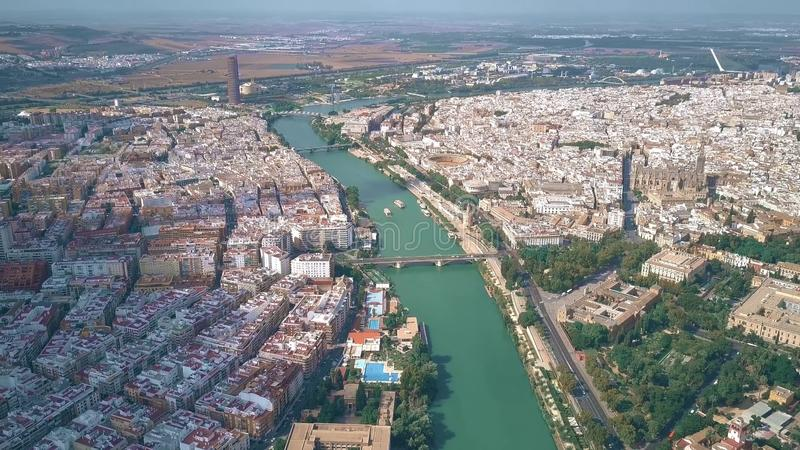 Aerial view of Seville cityscape and the Guadalquivir river, Spain. Aerial view of Seville cityscape and the Guadalquivir river stock photos