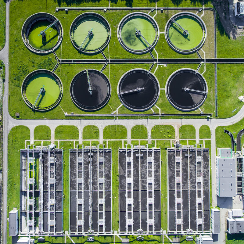 Aerial view of sewage treatment plant in Poland. royalty free stock image