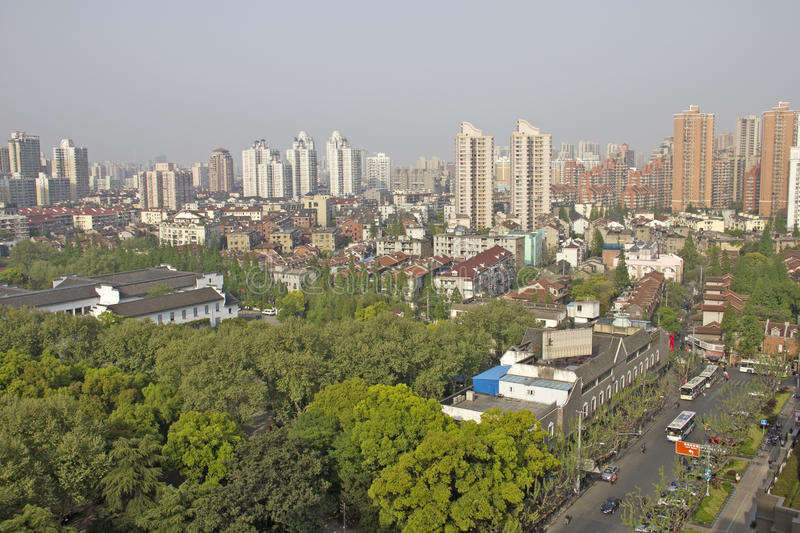 Aerial view of Shanghai, China stock image