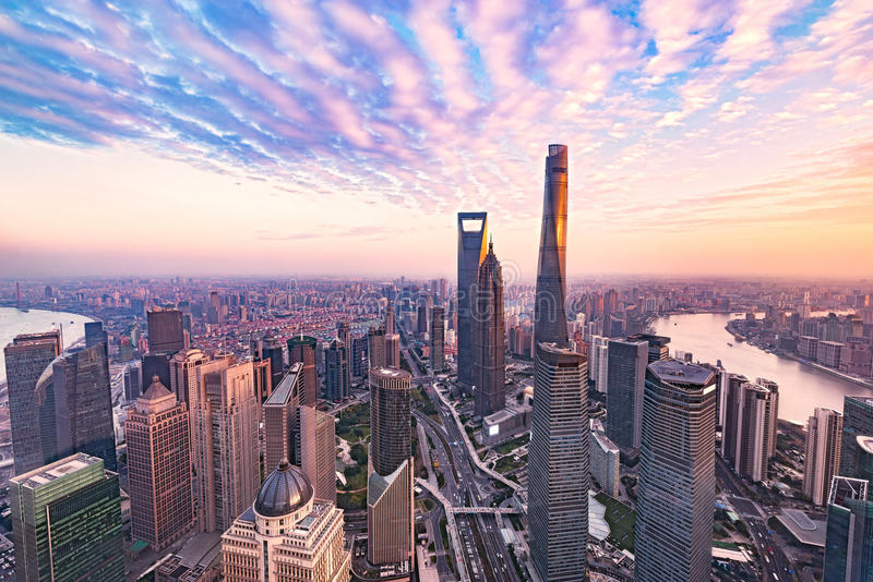 Aerial view of Shanghai city. royalty free stock images