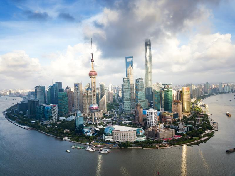 Aerial view of Shanghai modern skyscrapers in China stock photos