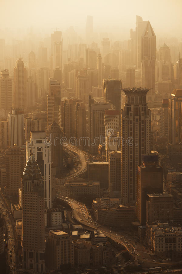Aerial view of Shanghai skyline at sunset royalty free stock image