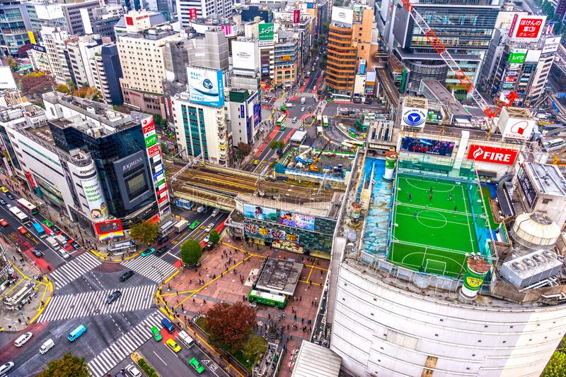 Aerial view of Shibuya District and Shibuya Crossing, Tokyo. stock images