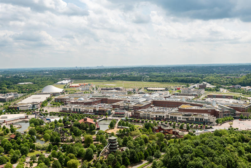 Aerial view of the shopping center Centro in Oberhausen, Germany. Oberhausen, Germany - May 21, 2016: Aerial view of the shopping centre Centro in Oberhausen stock photo