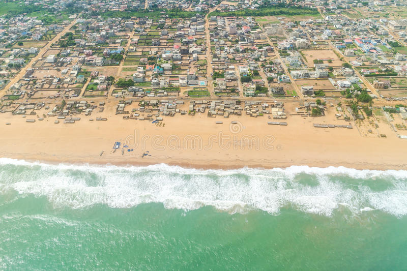 Aerial view of the shores of Cotonou, Benin royalty free stock photography