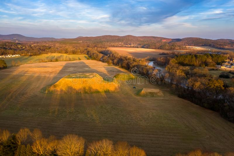 Aerial view of Etowah Indian Mounds Historic Site in Cartersville Georgia. Aerial view shot of Etowah Indian Mounds Historic Site in Cartersville Georgia stock photos