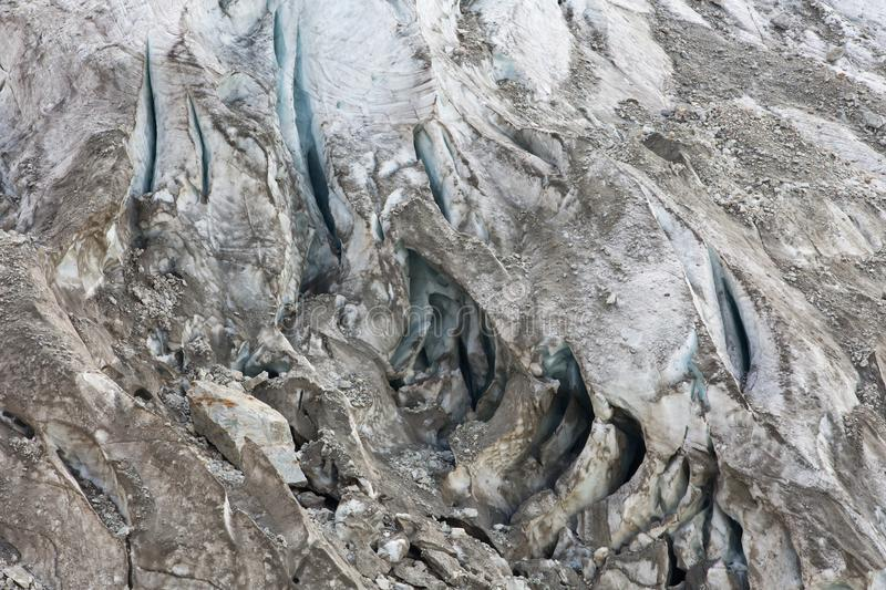 Aerial view of show and ice of Kashkatash Glacier on the west Ca. Ucasian mountains in Russia stock image