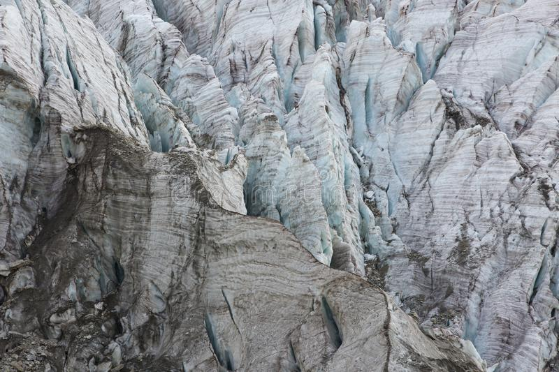 Aerial view of show and ice of Kashkatash Glacier on the west Ca. Ucasian mountains in Russia royalty free stock photography