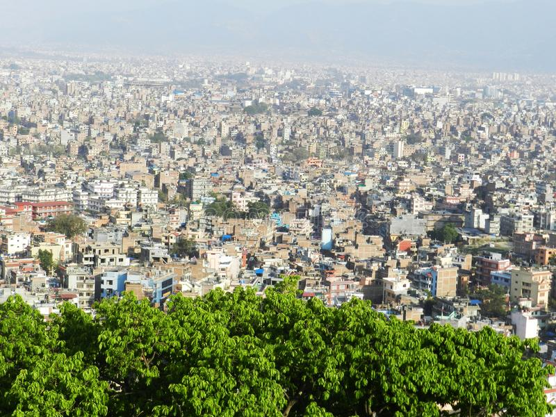 Aerial view showing building tops, cityscape in Nepal.  stock photo