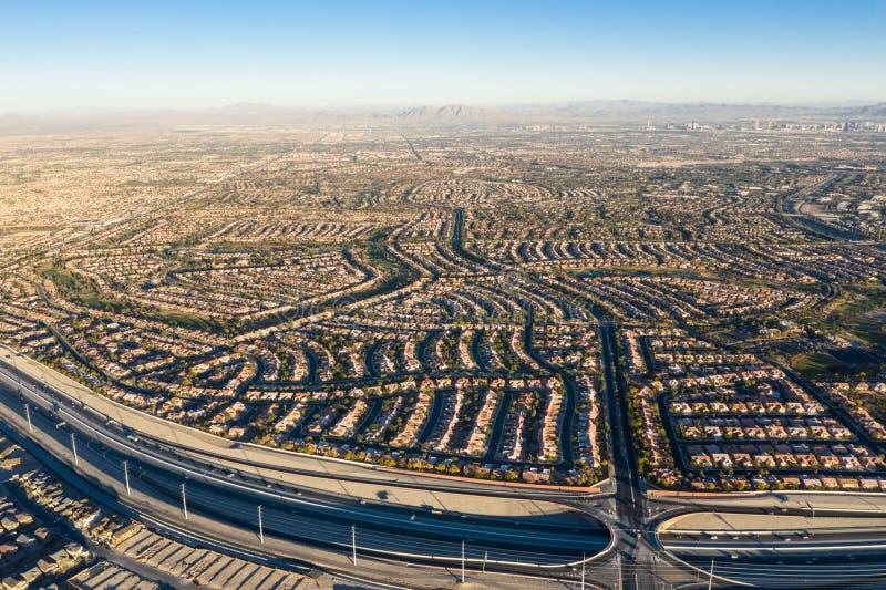 Aerial View of Housing Developments Near Las Vegas royalty free stock photos