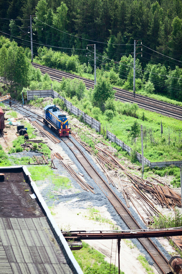 Aerial view of shunting train on industrial plant. Aerial view of shunting train on industrial factory royalty free stock photo