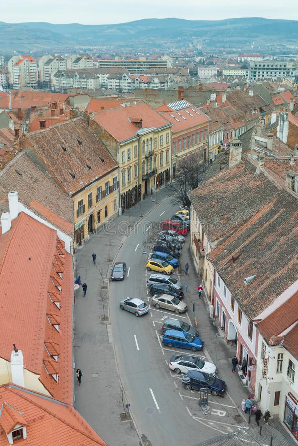 Aerial view of Sibiu and a busy street stock images