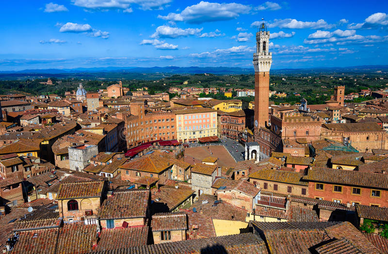Aerial view of Siena with Campo Square Piazza del Campo, Palazzo Pubblico and Mangia Tower Torre del Mangia in Siena. Tuscany, Italy royalty free stock photography