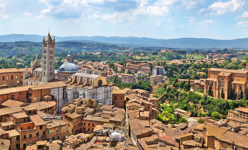 Aerial view on Siena Cathedral, Italy royalty free stock image