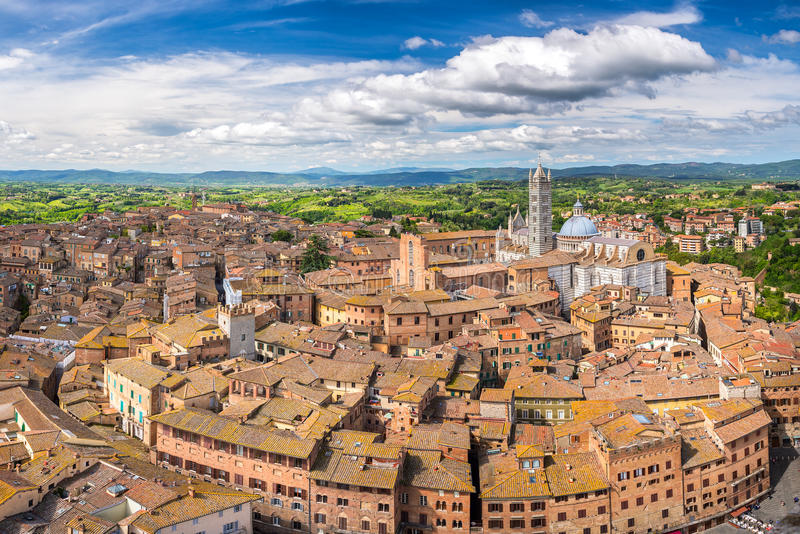 Aerial view of Siena stock photography
