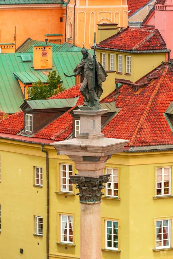 Aerial view of Sigismund Column in Warsaw, Poland. royalty free stock photo
