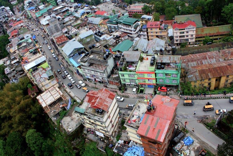 Aerial View of Gangtok,capital city of Sikkim stock photos