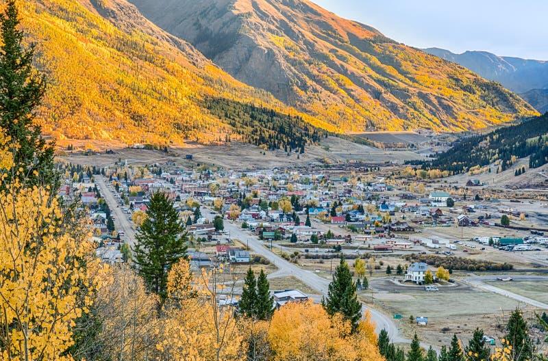 Aerial View of Silverton, Colorado stock photos
