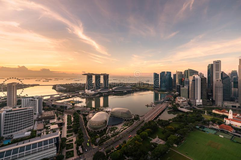Aerial view of Singapore business district and city during sunrise in Singapore, Asia stock photo