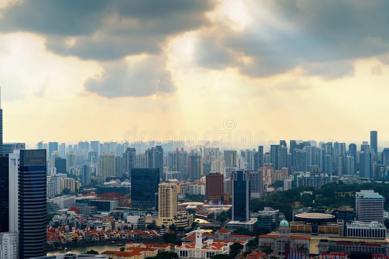 Aerial view of Singapore Downtown skyline at sunset. Financial district and business centers in technology smart urban city in. Asia. Skyscraper and high-rise royalty free stock photos