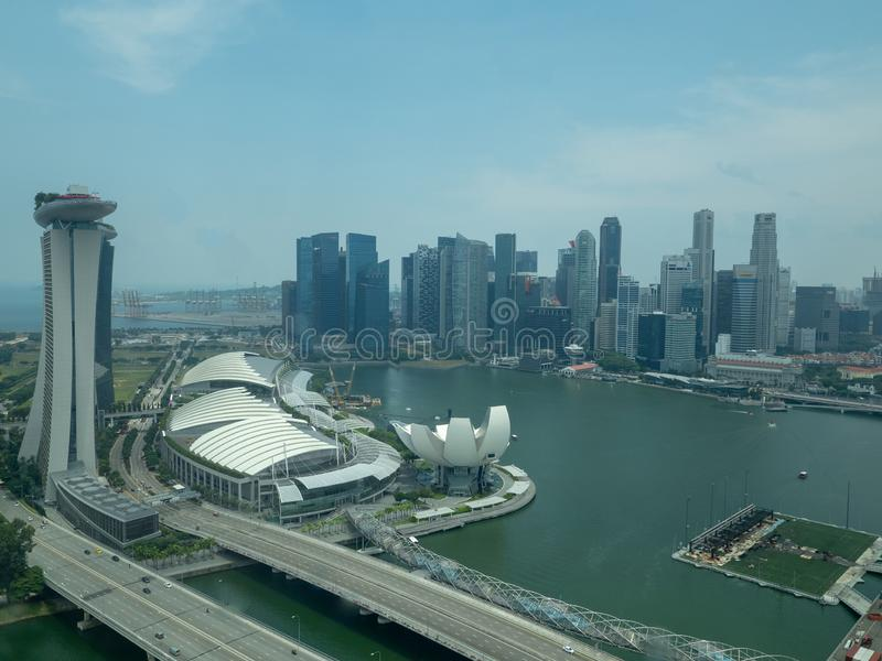 Aerial view of Singapore from the Singapore Flyer. Singapore - August 20 2018: Aerial view of the city from the Singapore Flyer. The Singapore Flyer is a giant stock images