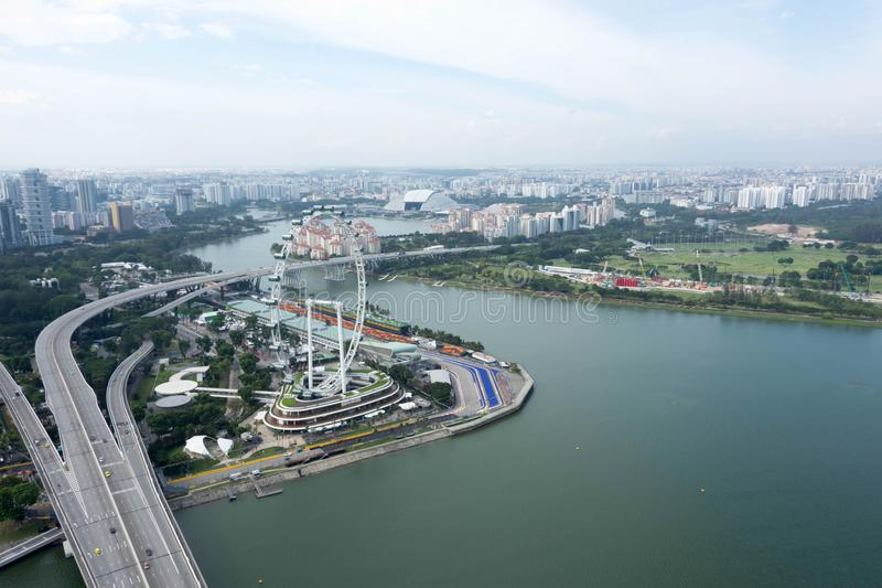 Aerial view of Singapore Flyer. During day stock photos