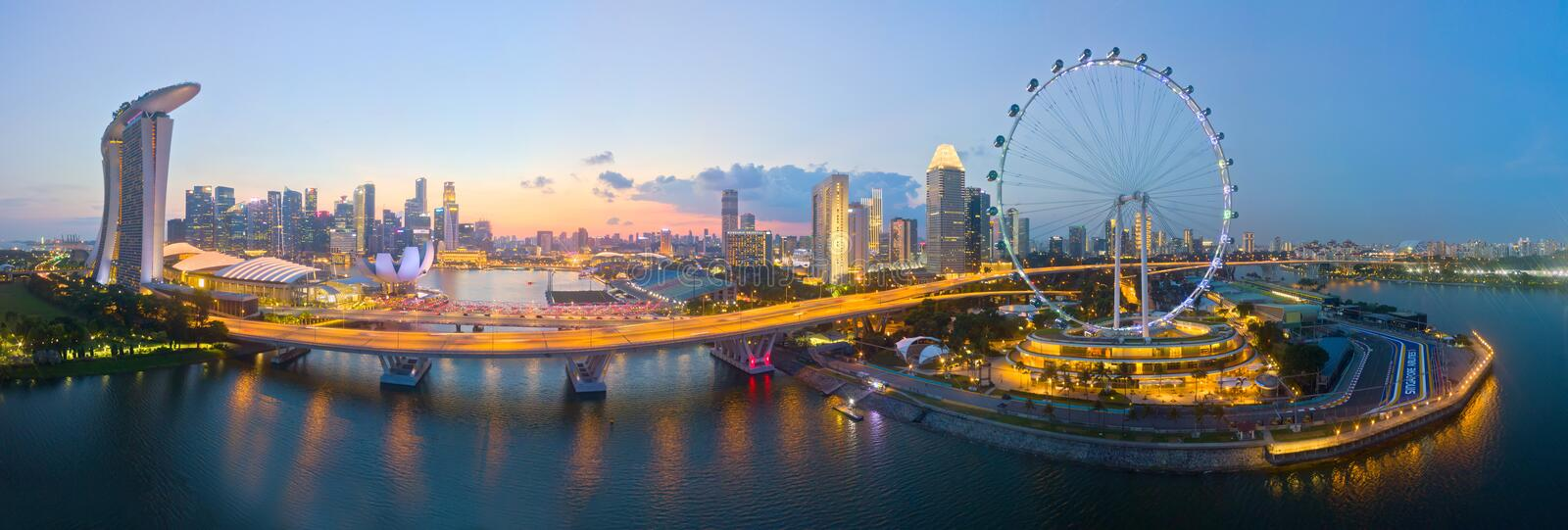 Aerial View of Singapore iconic Flyer, Marina Bay Sands Hotel and part of F1 track stock photo