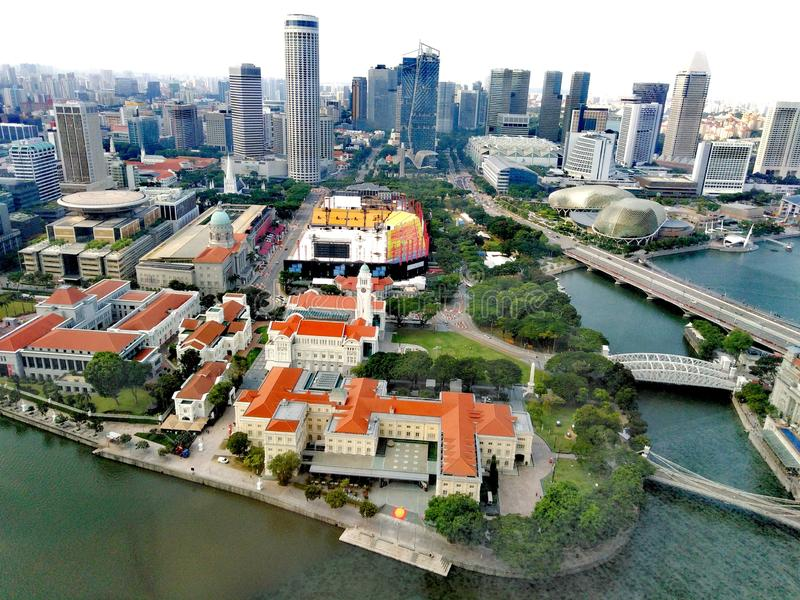 Aerial view of Singapore River in downtown area. Aerial view of singapore river in downtown, area, shophouses, boat, quay, south, bridge, road, clarke, pubs stock photography