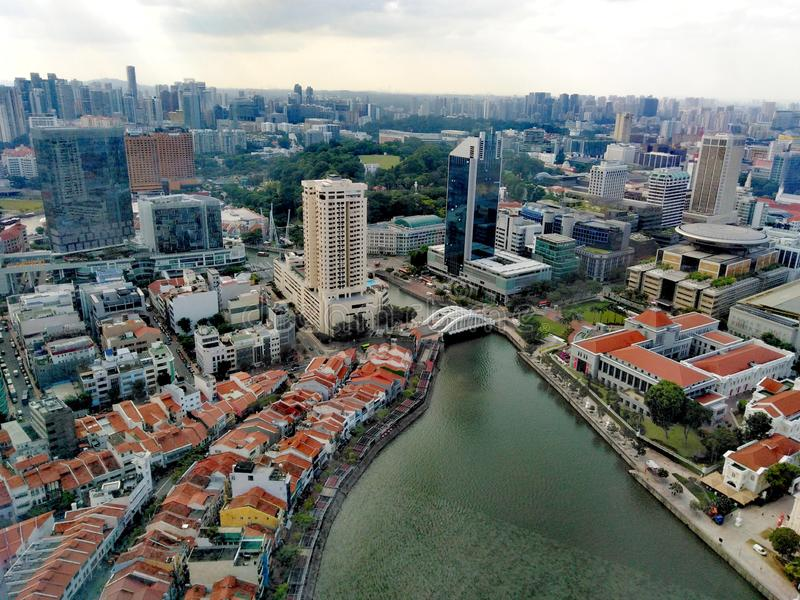 Aerial view of Singapore River in downtown area. Aerial view of singapore river in downtown, area, shophouses, boat, quay, south, bridge, road, clarke, pubs royalty free stock photography
