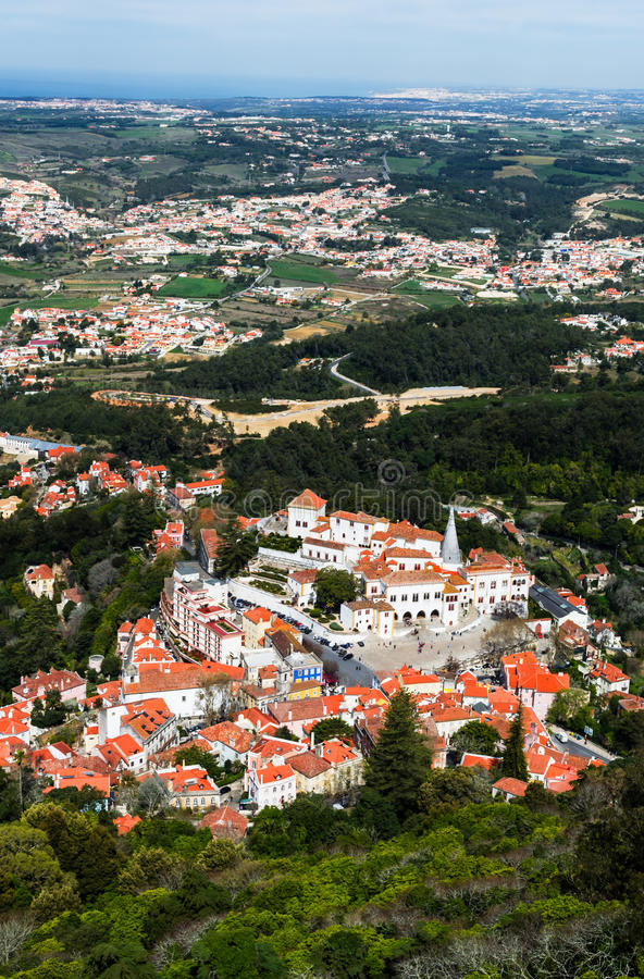 Aerial view of Sintra city, Portugal stock photography
