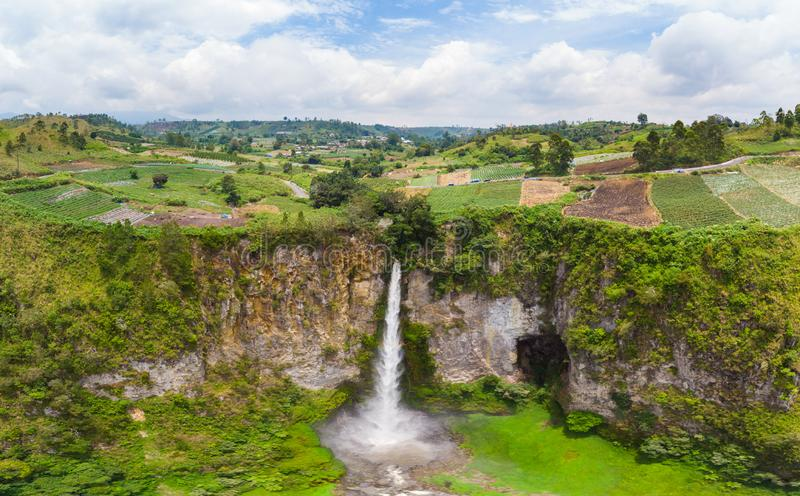 Aerial view Sipiso-piso waterfall in Sumatra, travel destination in Berastagi and Lake Toba, Indonesia stock image