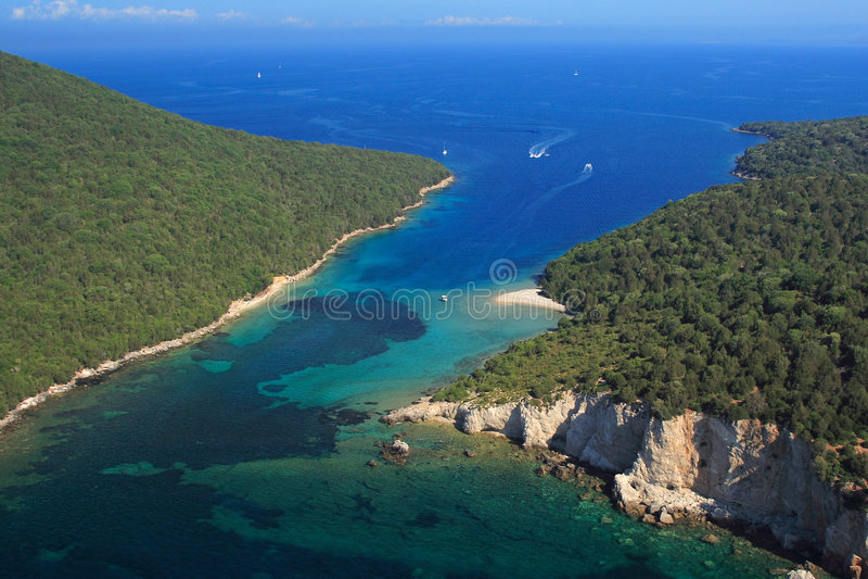 Aerial view on Sivota Greece royalty free stock photos