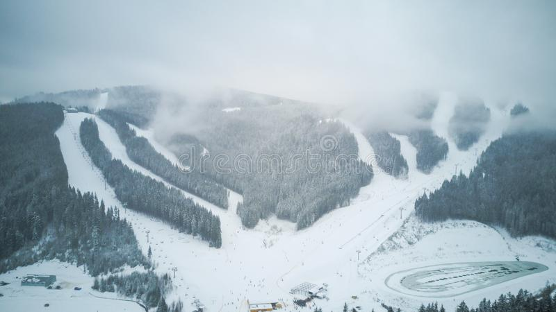 Aerial view of a ski resort in the Carpathians, Bukovel stock photo