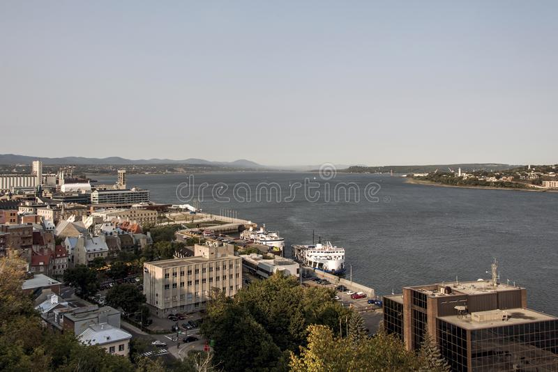 Aerial view of skyline and Saint Lawrence stream in Quebec City Canada.  royalty free stock photo