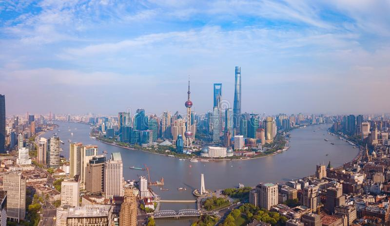 Aerial view of skyscraper and high-rise office buildings in Shanghai Downtown, China. Financial district and business centers in stock photos